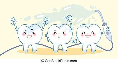 lavare, concetto, denti