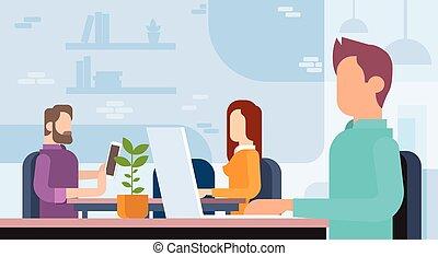 lavorando ufficio, affari persone, coworking, posto lavoro, squadra