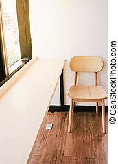 lavorando ufficio, spazio, regolazione, riscaldare, tavola, sedia, caffè, o
