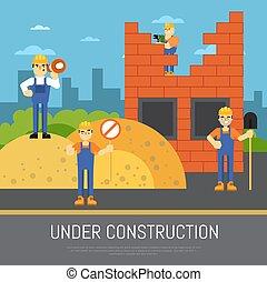 lavorante, costruzione, bandiera, sotto