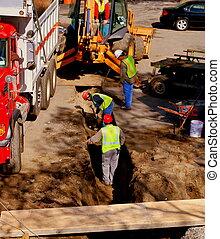 lavorante, costruzione, cavamento