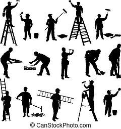 lavorante, gruppo, silhouette