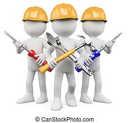 lavorante, lavoro, -, 3d, squadra