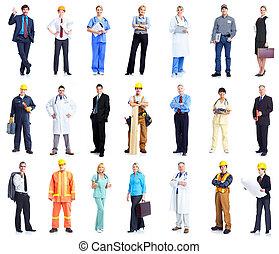 lavorante, set, persone., affari