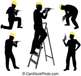 lavorante, silhouette, trapano