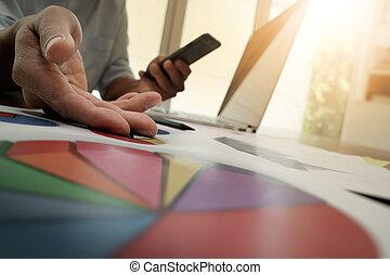 lavorativo, affari, uomo affari, nuovo, moderno, strategia, computer, mano, concetto