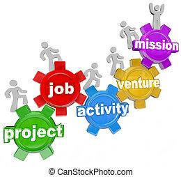 lavorativo, attività, missione, progetto, lavoro, avventurare, squadra