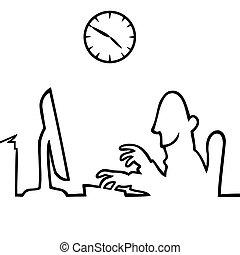 lavorativo, dietro, computer, 5, 9, uomo