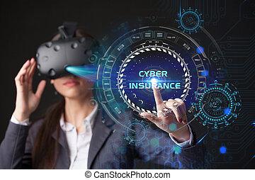 lavorativo, display., donna d'affari, occhiali, giovane, virtuale, cyber, assicurazione, selezionare, icona
