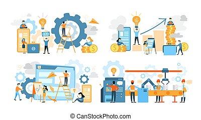 lavorativo, persone affari, set., collezione, lavoro squadra, squadra