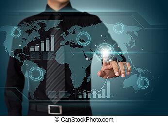 lavorativo, schermo, wth, tocco, uomo affari, tecnologia