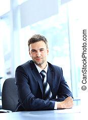 lavorativo, seduta, ufficio, giovane, scrivania, uomo affari