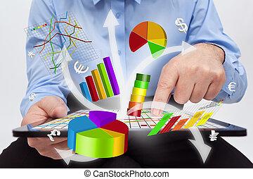 lavorativo, tavoletta, -, tabelle, computer, uomo affari, produrre