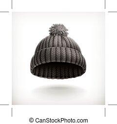 lavorato maglia, berretto, nero