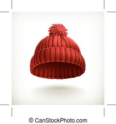 lavorato maglia, berretto, rosso