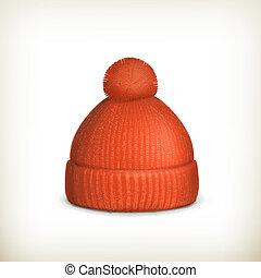 lavorato maglia, berretto, vettore, rosso