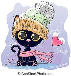 lavorato maglia, carino, berretto, gattino