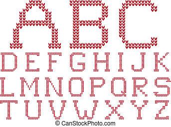 lavorato maglia, vettore, set, alfabeto