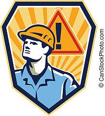 lavoratore, appaltatore, costruzione, attenzione, retro, segno