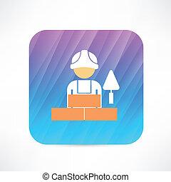 lavoratore, cazzuola, icona