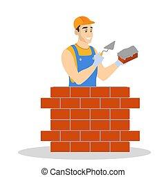 lavoratore costruisce, uniforme, costruzione, mattone, wall., uomo