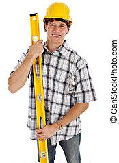 lavoratore costruzione, giovane, felice