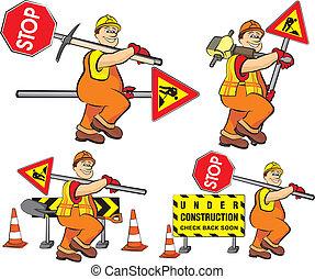 lavoratore, costruzione, -, strada, sotto