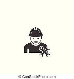 lavoratore costruzione, tools., icona