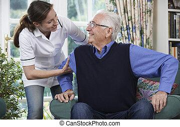 lavoratore, cura, alzarsi, uomo senior, porzione, sedia, fuori