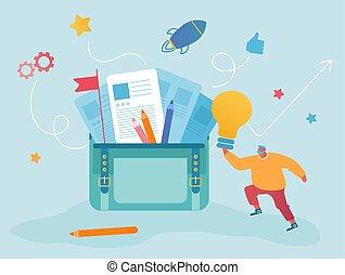 lavoratore, detenere, bulbo, appartamento, intuito, vettore, buono, cartone animato, enorme, borsa, componente, portafoglio, luce ardente, illustrazione, uomo, project., idea., creativo, uomo affari, ufficio, mettere, riuscito, affari