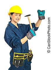 lavoratore, donna, martello, giovane