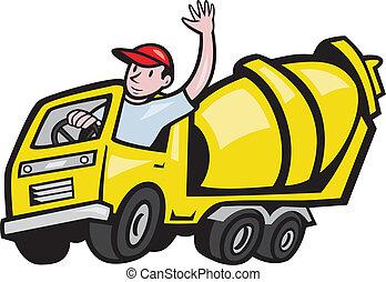 lavoratore, driver, cemento, costruzione, camion, miscelatore