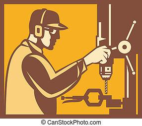 lavoratore, fabbrica, operatore, retro, stampa trapano