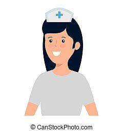 lavoratore, infermiera, carattere, giovane, femmina
