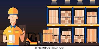 lavoratore, interno, vettore, pallet, o, magazzino, beni, boxes., camion, pacchetto, direttore, contenitore, appartamento