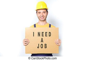 lavoratore, isolato, dall'aspetto, lavoro, bianco, felice