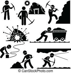 lavoratore, minerario, lavoro, minatore, persone