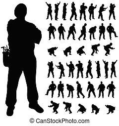 lavoratore, pose, vario, silhouette, nero