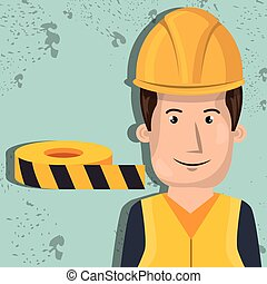 lavoratore, protezione, attrezzi, uomo, icona