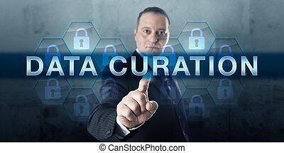 lavoratore, toccante, dati, conoscenza, curation
