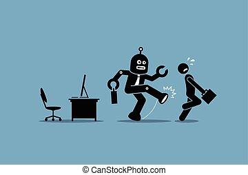 lavoratore, umano, impiegato, robot, lontano, lavoro, ufficio., suo, calci, computer