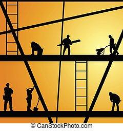 lavoro, costruzione, vettore, lavoratore, illustrazione