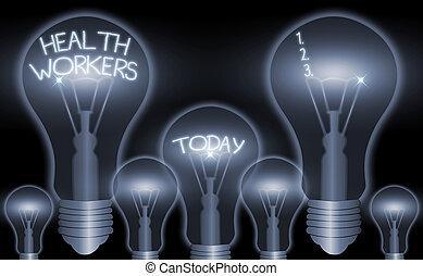 lavoro, di chi, scrittura, concetto, scrittura, testo, proteggere, salute, communities., workers., loro, significato