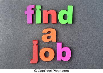 lavoro, fondo, parole, trovare