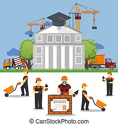 lavoro, lavoratori costruzione, università, technic, vettore, costruttore, caschi, carriole, studio, sotto, illustration.