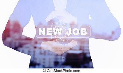 lavoro nuovo, affari donna, presa a terra