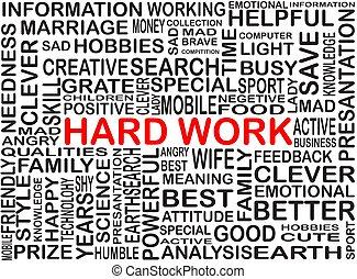 lavoro, parola, colorare, duro, collezione, evidenziato, rosso