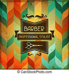 lavoro parrucchiere, style., fondo, retro