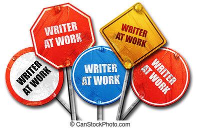lavoro, scrittore, collezione, segno, strada, interpretazione, ruvido, 3d