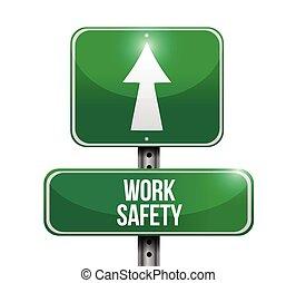 lavoro, sicurezza, strada, illustrazione, segno